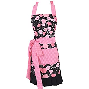 Women's Original Floral Apron with Pockets, Adjustable Long Ties for Kitchen Cooking, Baking and Gardening, 54 x 73 cm (Pink)