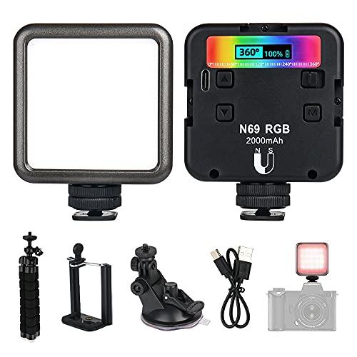 YeenGreen Led Videoleuchte RGB, Kamera Licht Dauerlicht, Mini Dimmbare Kamera Licht 2500K-9000K, Videolicht RGB mit 2000 mAh, Tragbar LED Fotolicht mit Clip und Stativ für DSLR Camcorder, Smartphone