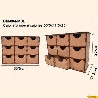 Kashakydex CAJONERO 9 CAJONES DM para Decorar 33,2x11,5x25CM