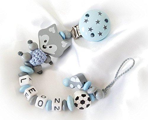 Baby Schnullerkette Fuchs mit Namen - Kinder - Geschenk zur Geburt, Taufe - Länge: max. 22cm - (Hellgrau, Babyblau, Sterne)