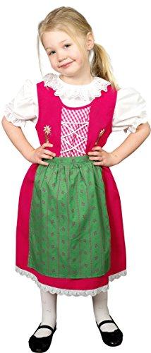 Schrammel Kinderdirndl Schürze mit Blumenrankerl Kinder Dirndl für Festtag (122-128, Pink-Grün)