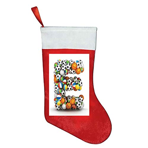 Letter E christmas slipper socks for women ABC of Sports Concept Different Gaming Balls First Name Initial Monogram Design gifts for dad Multicolor W12 x L16Inch