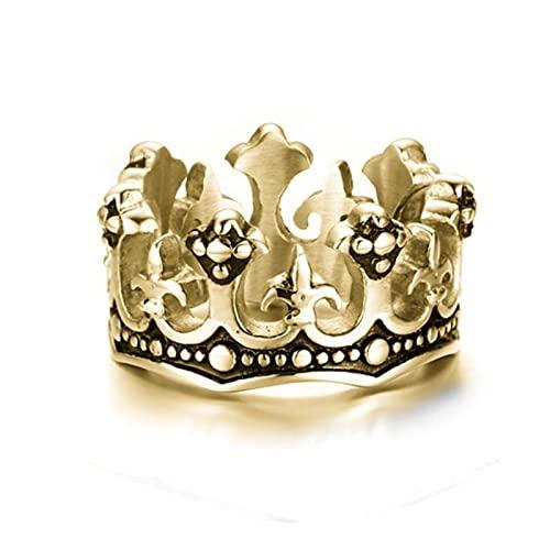 Estilo Vintage Negro Royal Crown Caballero Cruz Anillos Joyería del Encanto de los Hombres