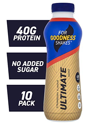 For Goodness Shakes Ultimate Protein Strawberry Shake, 475ml - Pack of 10