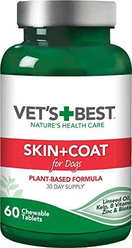 Vet's Best Skin & Coat Dog Supplements - Promotes Heathy Skin & shiny Coat (60 Tablets)