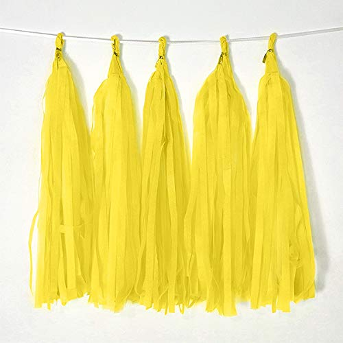 Yellow Tissue Paper Tassel Garland DIY Hanging Paper Decorations Party Garland Decor for Party Decorations Wedding,Festival,Baby Shower Decoration 20PCS (Deep Yellow-35CM)