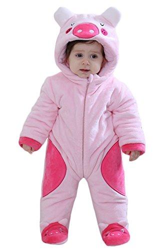 Y-BOA Pyjama Dors Bien Flanelle Enfant Bébé Combinaison Hiver Chaude Déguisement Animal Rompers Rose Cochon 0-6mois