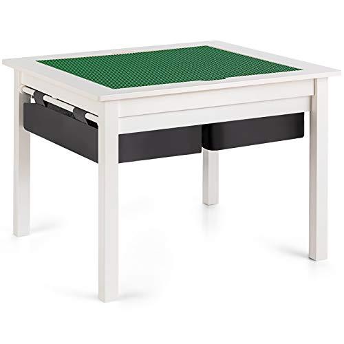 GOPLUS Tavolo da Gioco per Bambini con 4 Cassetti, Tavolino Multifunzione per Studiare e Giocare, Tavolo Educativo con Costruzioni, 65x65x53 cm (Bianco)
