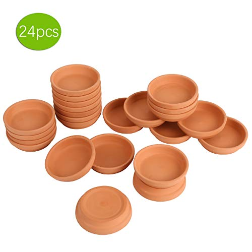 24pcs Terra Cotta Saucer 32inch Small Mini Clay Pots Tray Suitable for 4inch 3inch 25inch 2inch Succulents Nursery Pots