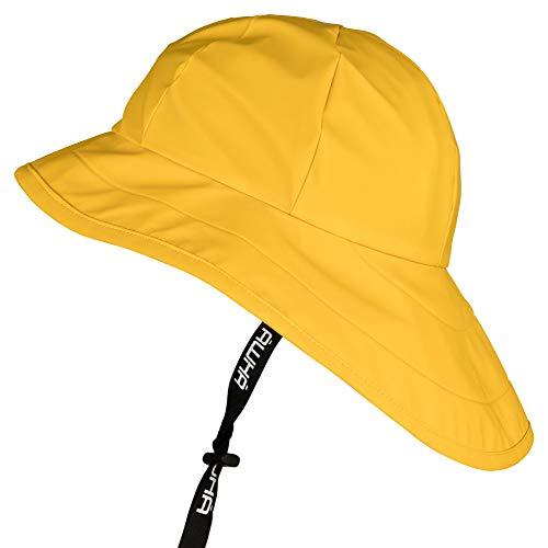 AWHA Südwester Regenhut gelb/Unisex - wasserdichte Mütze mit breiter Krempe und Ohrenklappen