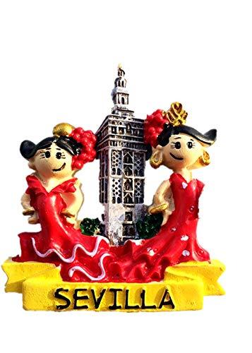 Imán 3D para nevera con diseño de bailarina de flamenco de Sevilla España para decoración del hogar y la cocina