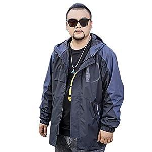 Cartoden おおきいサイズ ジャケット メンズ コート ビッグサイズ L~6L ジッパー 前開き 秋冬 カジュアル ビジネス 防風防寒 おしゃれ グラデーション アウター ウインドブレーカー (6Lサイズ= 5XL, ブラック/ブルー)