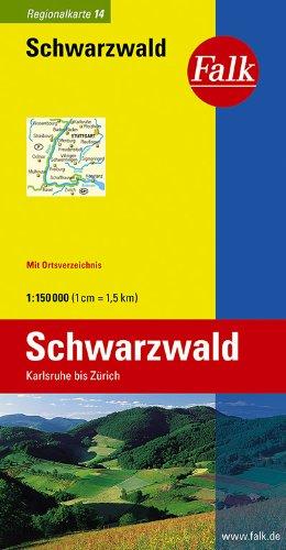 Falk Regionalkarte Schwarzwald 1:150 000 Karlsruhe bis Zürich
