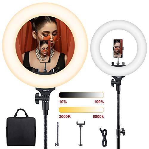 ESDDI Ringlicht, 18 Zoll LED Dimmbares Ring Licht, Bi-Color 3200K-5800K Kit mit Stativ und Handyhalterung für Selfies, YouTube Videos und Make up