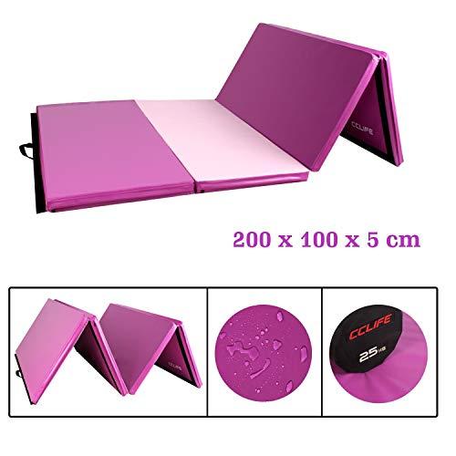 CCLIFE Turnmatte Weichbodenmatte Klappbar für zuhause Fitnessmatte Gymnastikmatte rutschfeste Sportmatte Spielmatte, Farbe:200x100x5cm Rosa&Lila