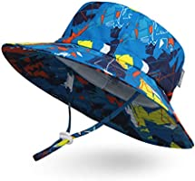 Ami&Li tots キッズバケットハット 日よけ帽子 UPF50+ UVカット 防水 ベビーキャップ 子供用サファリハット つば広 調節紐付き 女の子 男の子 ガールズ ボーイズ 夏 海遊び・外出・旅行