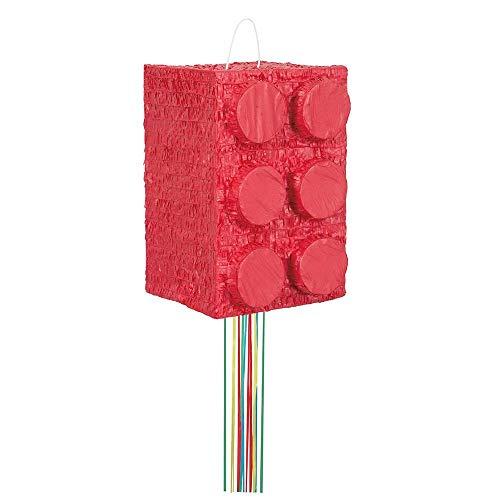 Unique Party- Piñata bloque de construcción para tirar, Color rojo, 0-0 years (65992)