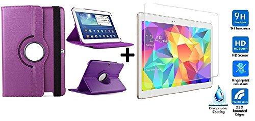 Funda para Tablet Bq Edison 3 10.1' Quad Core. Giratoria 360º Color Morado + Cristal Templado