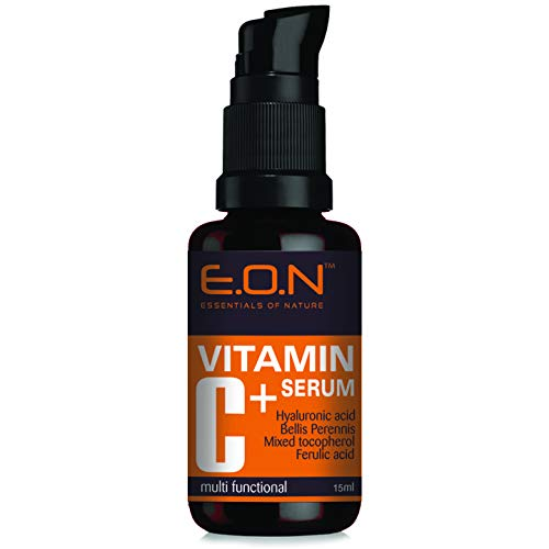 Essentials Of Nature Eon Vitamin C Serum With Hyaluronic Acid, Ferulic Acid & Mixed Tocopherols. Anti Wrinkle, Anti Aging, Dark Circles, Age Spots, Pigmentation 15Ml