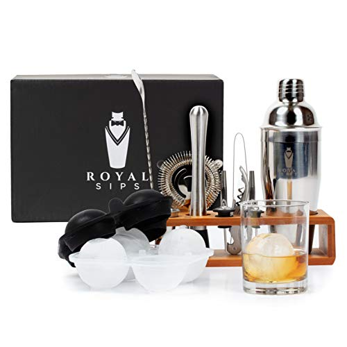 Royal Sips Cocktail Shaker Set With Ice Ball Mold And Bamboo Stand - Bar Tools And Bar Accessories - Bar Set Shakers Bartending Drink Mixer - Drink Shaker Cocktail Set - Mixology Bartender Kit