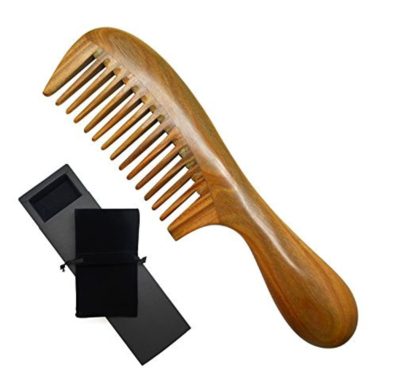文句を言う亡命アグネスグレイMeta-C Natural Green Sandalwood Wooden Comb - NO SNAGS, NO TANGLE, NO STATIC (Short Handle - Wide Tooth) [並行輸入品]