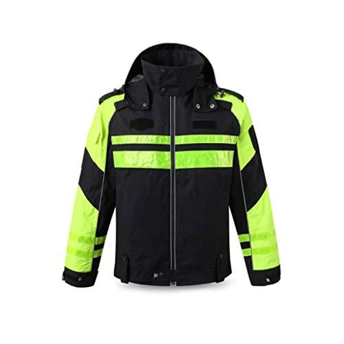 Ciclismo Traje reflectante, chaqueta de tela Oxford seguridad a prueba de viento Hombres Negro de invierno caliente impermeable y transpirable ropa de trabajo Chalecos de seguridad ( tamaño : Large )