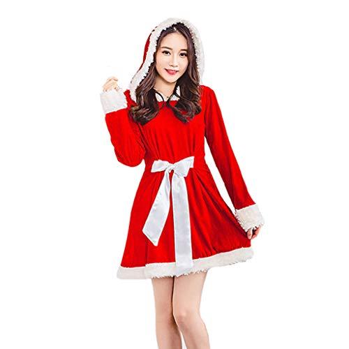 MEI XU Christmas Costume - Santa Claus Stage Costume Cosplay Costume Long Sleeve Warm Dress Nightclub Sexy Adult Women's Wear @