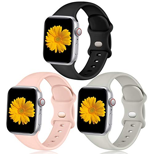 Easuny Sport Bands Compatible with Apple Watch 40mm 38mm Women Men - Soft Sport Silicone Wristbands Strap Replacement Accessories for iWatch Series 6/5/4/3/2/1,3 Pack of Black/Pink Sand/Gray,M/L