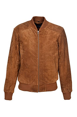 70er Classic Bomber Herren Bräunen Ebene Wildleder Wachs Biker Style Italienische gepaßte echte Lederjacke (2XL)