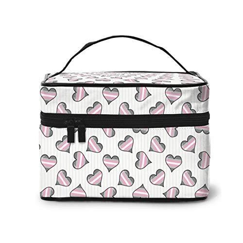 Cute demigirl heart Cosmetic Bag Fashion Travel Makeup Train Case Makeup Bag for Women Girls