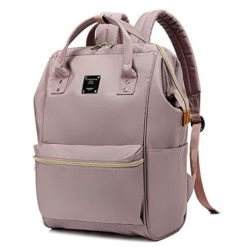 Bebamour Casual College Rucksack Leichte Reise Wide Open Back to School Rucksack für Frauen Männer (Dusty Pink)
