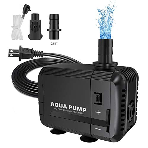 UPMCT 60-400 GPH Adjustable Submersible Water Pump, Ultra Quiet High Lift Detachable Cleanable Water Pump with 2 Nozzles for Aquarium, Pond, Statuary, Hydroponics (60-120 GPH)