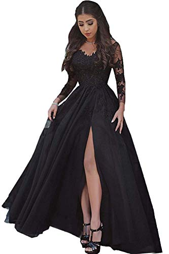 LastBridal Women Sexy V Neck Lace Appliques Long Sleeves Prom Dresses Formal High Slit Evening Gowns LB0076 US 16 Black