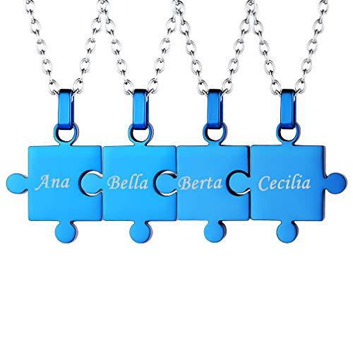Collares BFF para 4 Accesorios Decorativos de Cuello Acero Inoxidable Collar de Cadenas Azules Delgadas Ajustables Rompecabezas Cuatro Pedazos