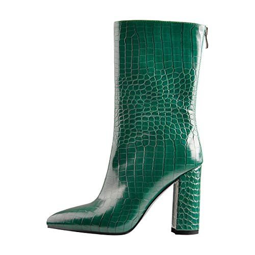 onlymaker Women's Rounded Toe Almond Toe Ankle Boots Chunky Block High Heel Mid Calf High Boots Imitation Crocodile Pattern Green Size 12