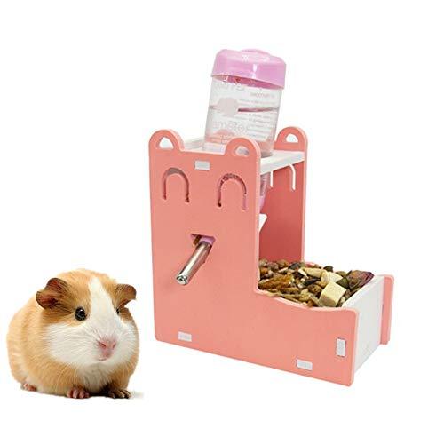Lidylinashop Comederos Hamster Comedero Automatico Hámster Alimentador automático Conejo dispensador de Comida Conejo de la Comida Rata de la Comida Ardilla de Set-Pink