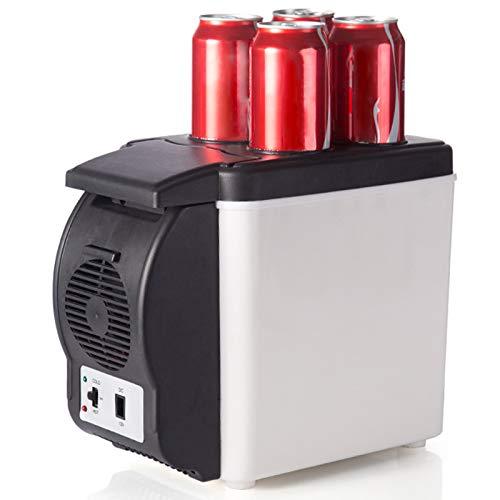 Refrigerador de automóviles, 2 en 1 Doble Uso de 6L Mini 12V refrigerador eléctrico y refrigerador Personal más cálido para la Playa de Viajes al Aire Libre,Negro