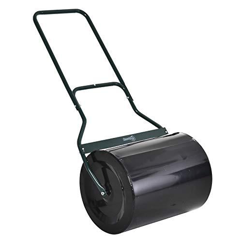 Outsunny Rasenwalze mit U-Griff, Gartenwalze, Gartenrolle, 40 cm Durchmesser, 60 L Wasser-/Sandfüllung, Metall, Schwarz 57 x 40 x 125 cm