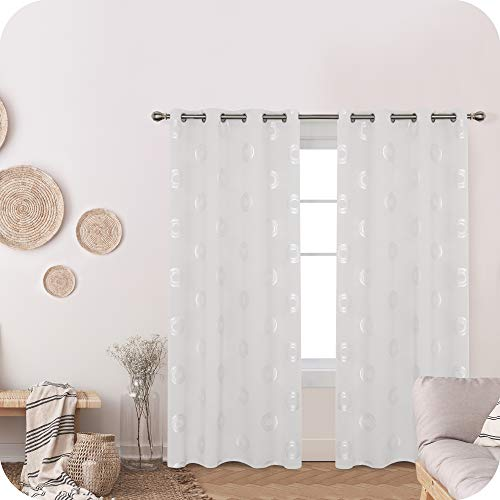 Amazon Brand – Umi Cortinas Opacas Decorativas con Motivos Roquillos con Ojales 2 Piezas 140x245cm Blanco Grisáceo