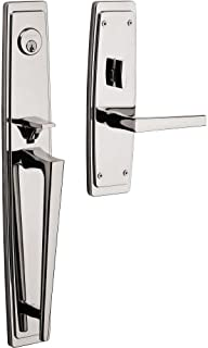 Baldwin 85397.LFD Palm Springs Left Handed Dummy Full Plate Handleset with L024, Lifetime Polished Nickel