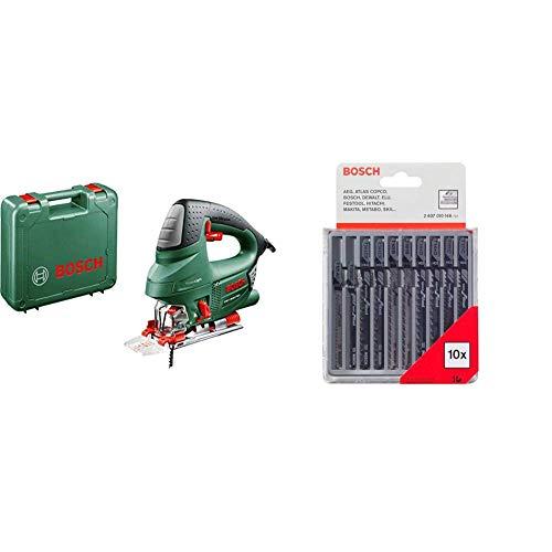 Bosch Stichsäge PST 900 PEL (620 Watt, Sägeblatt, Spanreißschutz, CutControl, Koffer) + Pro Stichsägeblatt 10 tlg.-Set für Holz