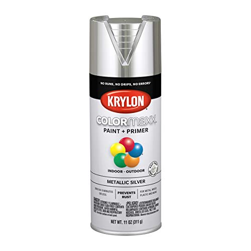 Krylon K05590007 COLORmaxx Spray Paint and Primer for Indoor/Outdoor Use, Metallic Silver
