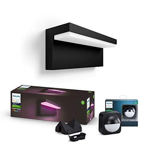 Philips Hue White and Color Ambiance LED Außenwandleuchte Nyro inkl. Hue Bewegungssensor, dimmbar, bis zu 16 Millionen Farben, steuerbar via App, kompatibel mit Amazon Alexa (Echo, Echo Dot)