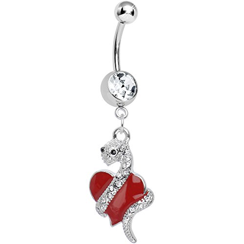 Body Candy Red Sexy Serpent Heart Dangle Belly Ring