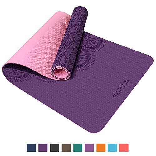 TOPLUS Pilatesmatte Gymnastikmatte,Yogamatte rutschfest aus TPE,Übungsmatte Sportmatte für Yoga,Pilates, Fitness-Pink