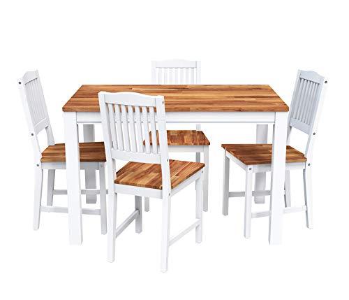 INTERBUILD REAL WOOD Akazie Swoppmokk Esszimmer-Set aus Echtholz, Tisch mit 4 stühlen Set, 0% VOC geölt und weiß lackiert,kueche, esszimmer, Wohnzimmer, klein, Holz