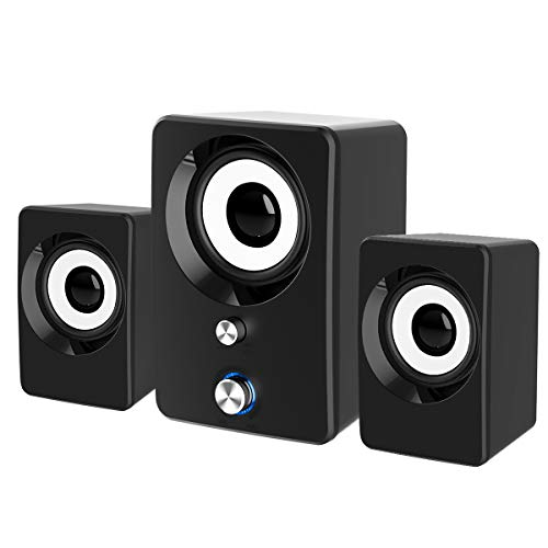 Computer Speakers, Maboo 3.5mm Jack PC Speakers Wired with Subwoofer, USB Powered Multimedia 2.1 Channel for Desktop, Windows, Laptop, Tablets, Smartphone, PC Black (Speaker 2.1)