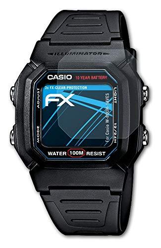 atFoliX Schutzfolie kompatibel mit Casio W-800H-1AVES Folie, ultraklare FX Bildschirmschutzfolie (3X)