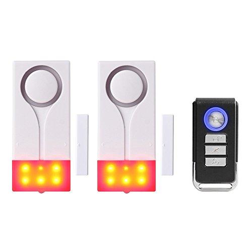 Mengshen Tür Fenster Alarm, Sound Licht Diebstahlschutz Alarm Für Die Sicherheit Der Garage Zu Hause Wohnung - Enthalten 2 Alarm Und 1 Fernbedienung