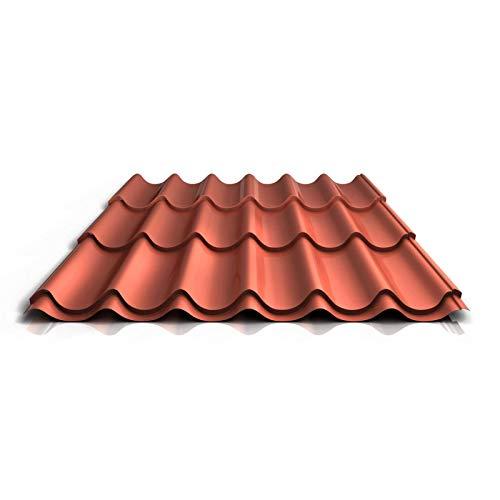 Pfannenblech | Ziegelblech | Dachziegelblech | Profil PS47/1060RT | Material Stahl | Stärke 0,50 mm | Beschichtung 35 µm | Farbe Ziegelrot